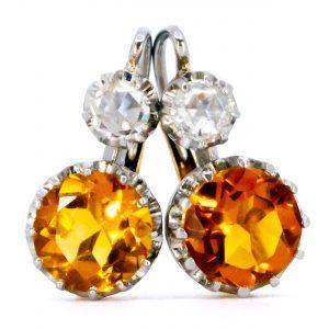 Vintage Citrine and Diamond Drop Earrings