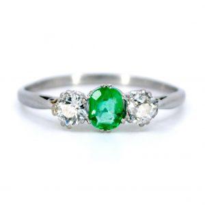Vintage Emerald and Old Mine Cut Diamond Three Stone Ring