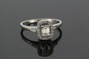 Emerald Cut Diamond Cluster Ring in 18ct White Gold, 0.52 carats
