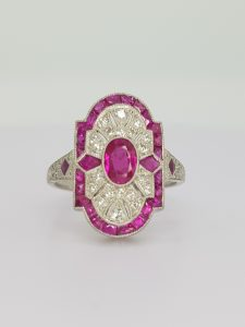Art Deco Style Ruby Diamond and Platinum Plaque Ring