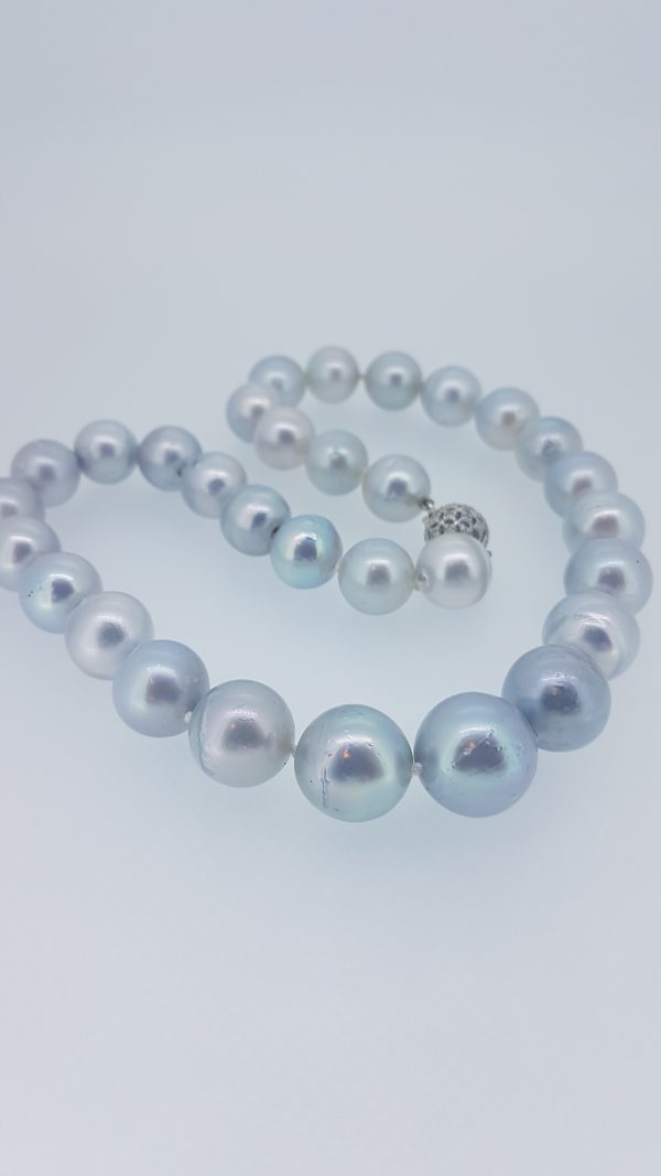 Grey South Sea Pearl Necklace with Diamond Clasp