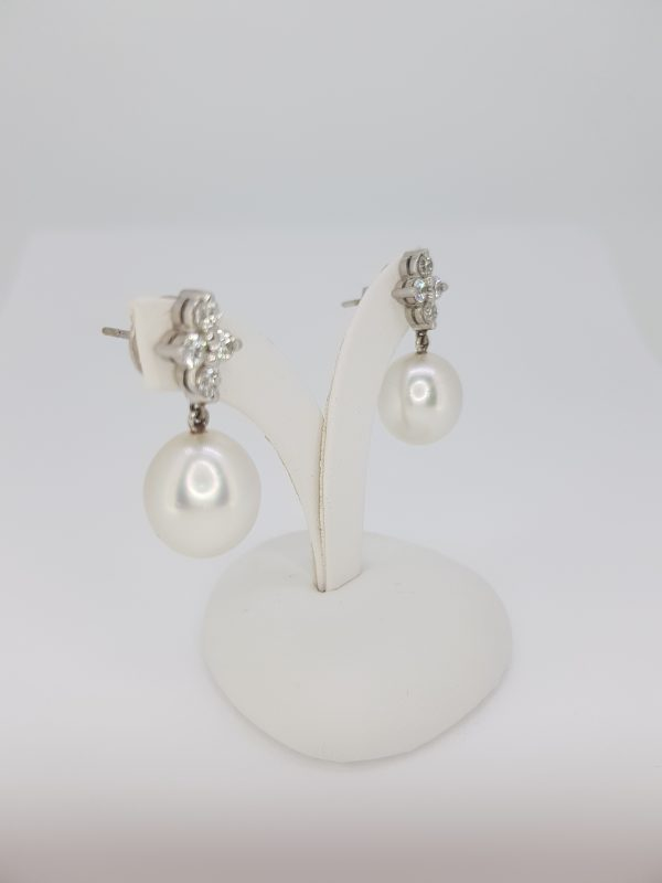 South Sea Pearl and Diamond Drop Earrings in 18ct White Gold