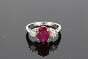 Ruby and Diamond Three Stone Ring in 18ct White Gold, 1.90 carats