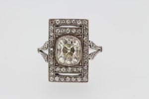 Art Deco 2.35ct Old Cut Diamond Plaque Dress Ring