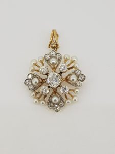 Antique Victorian Natural Pearl and Old Cut Diamond Pendant Brooch