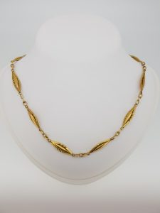 French 18ct Yellow Gold Fancy Link Chain Necklace