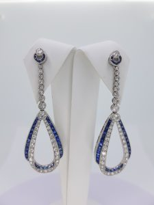 Sapphire and Diamond Drop Earrings in Platinum