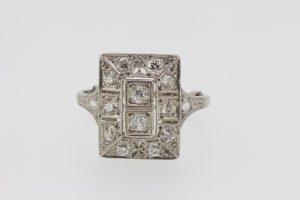 Art Deco Old Cut Diamond Plaque Dress Ring in Platinum