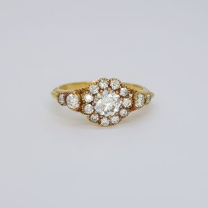 Georgian Style Diamond Floral Cluster Ring in 18ct Yellow Gold, 0.75cts