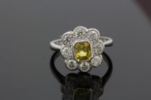 Yellow Sapphire and Diamond Floral Cluster Ring in Platinum, 1.25 carats