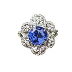 4.58cts Cornflower Blue Sapphire and Diamond Fancy Dress Ring