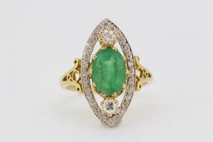 Emerald and Diamond Marquise Shaped Navette Cluster Ring