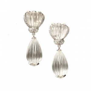 Vintage Fluted Rock Crystal and Diamond Drop Earrings, 4.50 carats