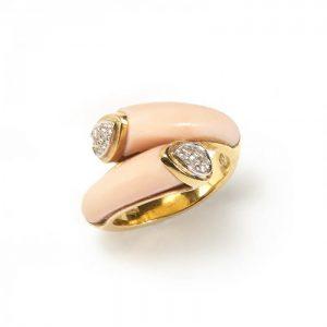 Contemporary Italian Coral and Diamond Crossover Ring