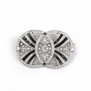 Belle Epoque Old Cut Diamond, Onyx and Platinum Brooch