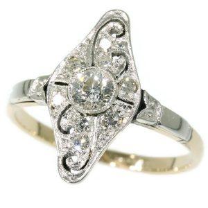 Antique Art Deco Old European Cut Diamond Engagement Ring, 1920s