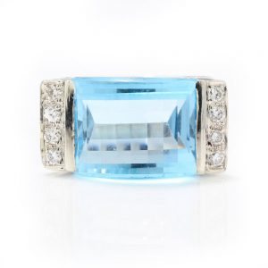Vintage 8ct Natural Blue Topaz and Diamond Cocktail Ring, Circa 1970s
