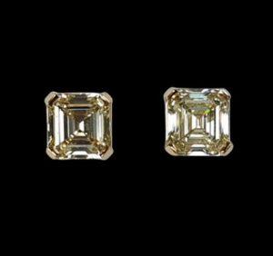 Asscher Cut Yellow Diamond Stud Earrings, 3.24 carat total