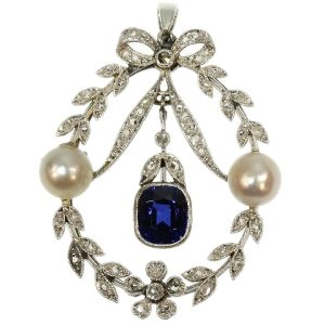 Antique Belle Epoque Diamond and Pearl Pendant