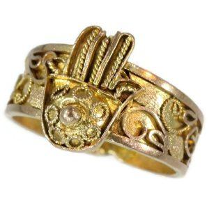 Antique Empire Gold Filigree Hand of Fatima Ring