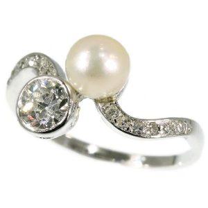 Antique Belle Epoque Diamond and Pearl Toi et Moi Ring, Platinum