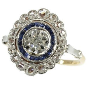 Antique Art Deco Sapphire and Diamond Target Cluster Ring