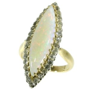 Antique Victorian Opal and Diamond Navette Ring