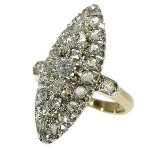 Antique Victorian Old European Cut Diamond Marquise Ring
