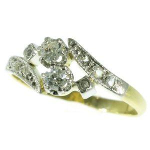 Antique Belle Epoque Toi et Moi Old European Cut Diamond Ring
