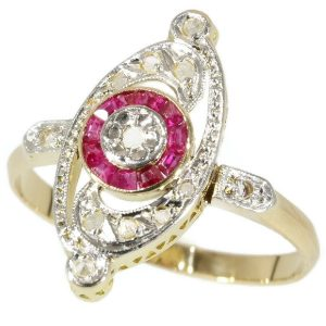 Antique French Belle Epoque Diamond and Ruby Ring