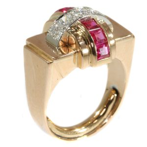 Stylish Retro Red Gold Diamond and Ruby Cocktail Ring