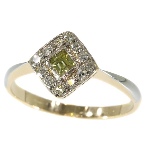 Antique Art Deco Natural Fancy Colour Diamond Engagement Ring