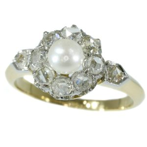 Antique Late Victorian Diamond and Pearl Engagement Ring