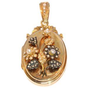 Antique Victorian Rose Gold Pearl Locket Pendant