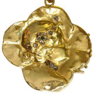 Antique Art Nouveau Good Luck Charm Locket with Four Leaf Clover Woman's Head
