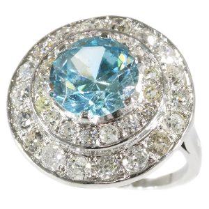 Vintage Fifties Large Starlite and Diamond Platinum Ring