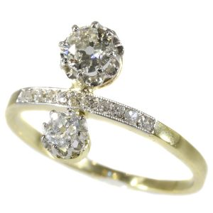Antique Belle Epoque Two Stone Diamond Engagement Ring