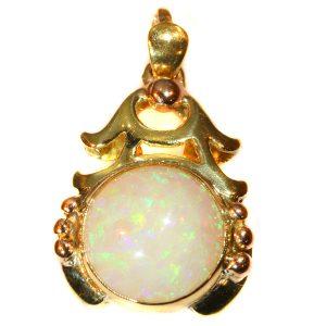 Vintage Cabochon Opal Bi-Colour Gold Pendant