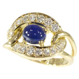 Spectacular Vintage Cartier Sapphire and Diamond 18ct Gold Ring