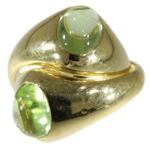 Vintage Italian Pomellato Demantoid Garnet Intertwined Gold Ring