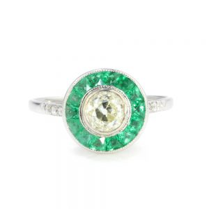 Old Cut Diamond and Emerald Cluster Target Ring