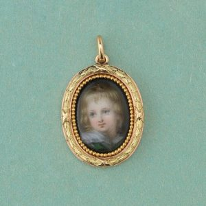 Antique Victorian Miniature Portrait Pendant by Wiese; 19th century Neoclassical bi-colour 18ct gold pendant, portrait miniature of a child within a laurel wreath border, Signed Wièse, France, Circa 1870