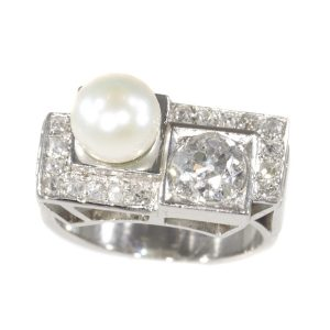 Vintage Art Deco Platinum Diamond and Pearl Ring