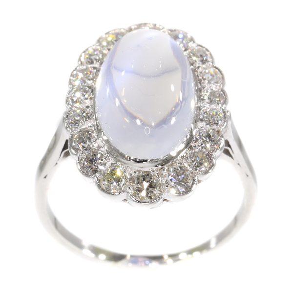Vintage Fifties Moonstone and Diamond Platinum Ring