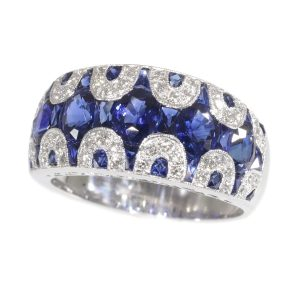 Vintage Seventies Sapphire and Diamond 18ct White Gold Ring