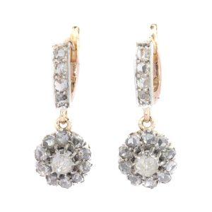 Antique Edwardian Rose Cut Diamond Earrings