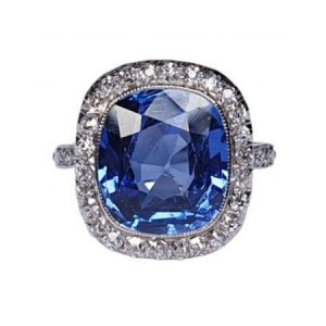 Art Deco 5ct Natural Ceylon Sapphire and Old Cut Diamond Cluster Ring