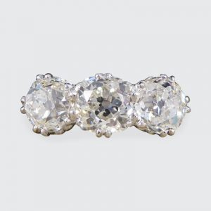 2.52ct Old Cut Diamond Three Stone Platinum Ring