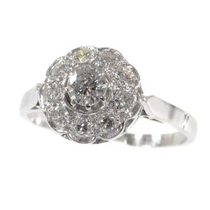 Vintage Fifties Brilliant Cut Diamond Platinum Engagement Ring