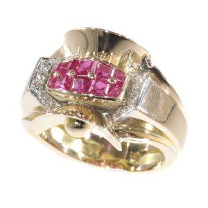 Vintage Retro Ruby and Diamond Ring